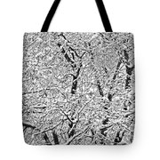 Black And White Snowy Tree Branches Abstract Six Tote Bag