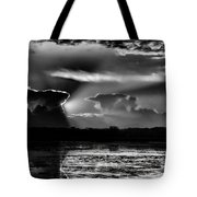 Black And White Sunset Over The Mead Wildlife Area Tote Bag