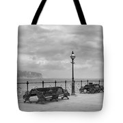 Black And White Swanage Pier Tote Bag