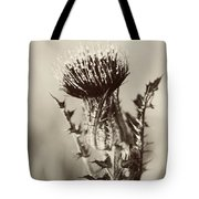 Black And White Thistle Tote Bag