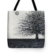 Black And White Snow Cold Winter Tree Tote Bag