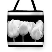 Black And White Tulip Triptych Tote Bag