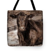 Black Angus In The Field Tote Bag