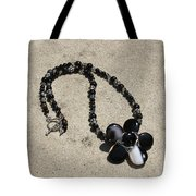 Black Banded Onyx Wire Wrapped Flower Pendant Necklace 3634 Tote Bag