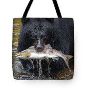 Black Bear With Salmon Tote Bag