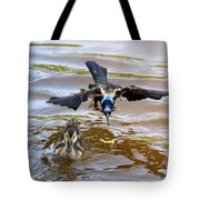 Black Bird On The Water Tote Bag