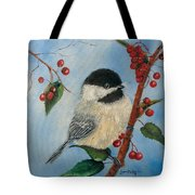 Black Capped Chickadee And Winterberries Tote Bag