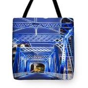 Black Cat Blue Bridge Tote Bag