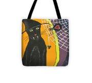 Black Cat In A Hat  Tote Bag