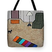 Essence Of Home - Black Cat In Living Room Tote Bag