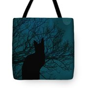 Black Cat In The Moonlight Blue Tote Bag