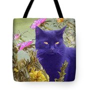 Black Cat Lurking In The Portulaca Tote Bag