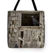 Black Crows At The Old Barn Tote Bag