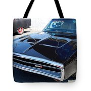Black Dodge Charger Tote Bag