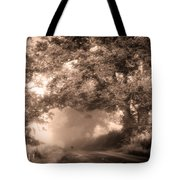Black Dog On A Misty Road. Misty Roads Of Scotland Tote Bag