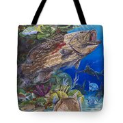 Black Grouper Hole Tote Bag by Carey Chen