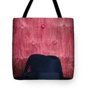 Black Hat On Red Velvet Chair Tote Bag