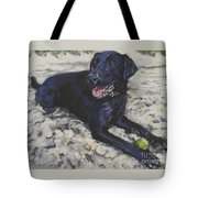 Black Lab On The Beach Tote Bag