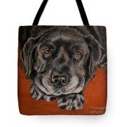 Black Labrador Rests Head Rescue Dog Tote Bag