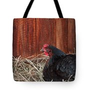 Black Laying Hen On Nest Art Prints Tote Bag