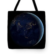 Black Marble - Asia And Australia City Lights Tote Bag
