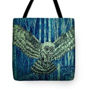 Black Owl On Blue Night Tote Bag