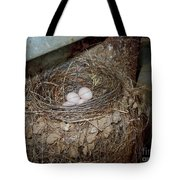 Black Phoebe Nest With Eggs Tote Bag