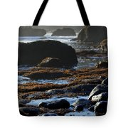 Black Rocks Lichen And Sea  Tote Bag