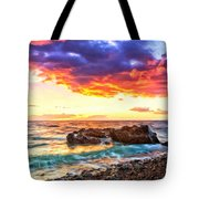 Black Sand Sunset Tote Bag