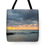 Black Sea Sunrise Before Storm Tote Bag