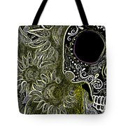Black Sunflower Skull Tote Bag by Lovejoy Creations