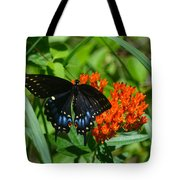 Black Swallow Tail On Beautiful Orange Wildlflower Tote Bag