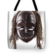 Black Tribal Face Mask On Isolated On White Tote Bag