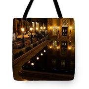 Black Water Golden Lights Tote Bag