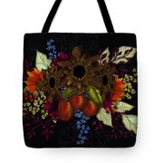 Black With Flowers And Fruit Tote Bag