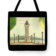Blackwell Island Lighthouse Ny Chart Map Art Tote Bag