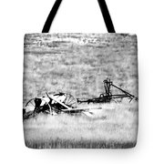Black And White Of Old Farm Equipment Tote Bag
