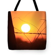 Blazing Orange Fence Line Sunset Tote Bag