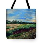Blazing Sun On Farmland Tote Bag