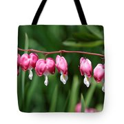 Bleeding Hearts All In A Row Tote Bag