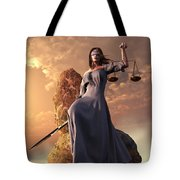 Blind Justice With Scales And Sword Tote Bag by Daniel Eskridge