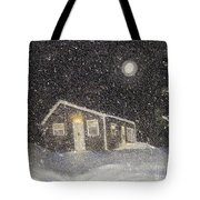 Blizzard At The Cabin Tote Bag by Barbara Griffin