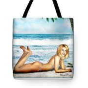 Blonde On Beach Tote Bag