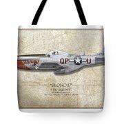 Blondie P-51d Mustang - Map Background Tote Bag
