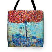 Blooming Beyond Known Skies - The Tree Of Life - Abstract Contemporary Original Oil Painting Tote Bag by Ana Maria Edulescu