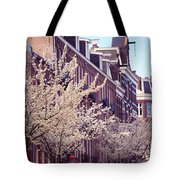 Blooming Decoration Of The Streets. Pink Spring In Amsterdam Tote Bag