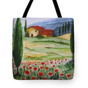 Blooming Poppy In Tuscany Tote Bag