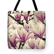 Blossoming Of Magnolia Flowers In Spring Time Tote Bag