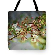 Blossoms And Sparrow Tote Bag