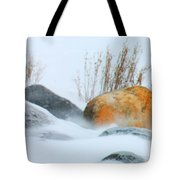 Blowing Snow And Rocks Tote Bag
